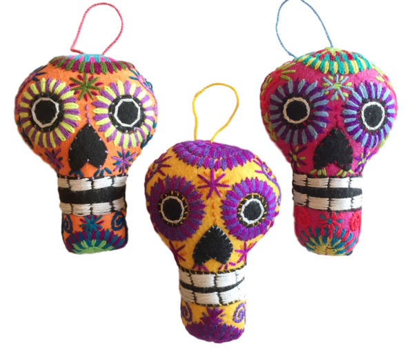 Embroidered Calavera Ornament, Large   Christmas Ornaments, Embroidered