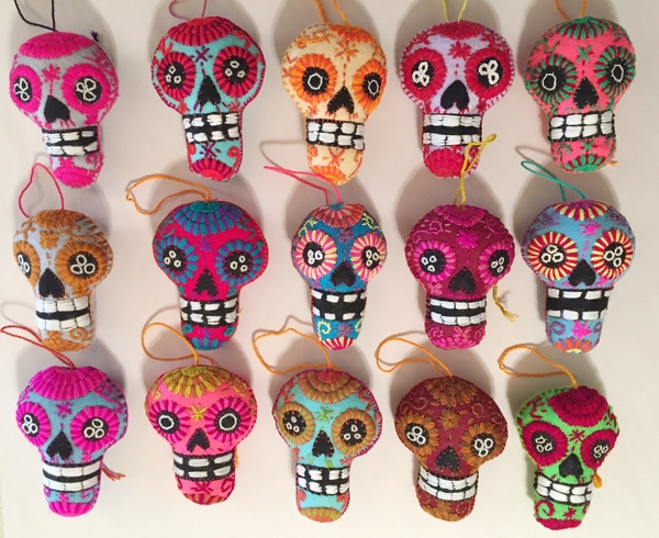 Embroidered Calavera Ornament, Large | Christmas Ornaments, Embroidered