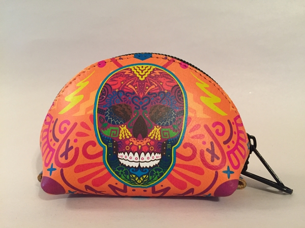 Leather Calavera Coin Purse, Multicolor Yellowish | Leather Coin Purses and Keychains