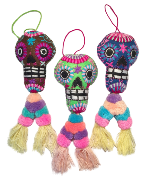 Embroidered Calavera Ornament, Double Pompom | Christmas Ornaments, Embroidered