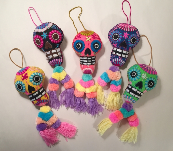 Embroidered Calavera Ornament, Double Pompom | Embroidered Ornaments