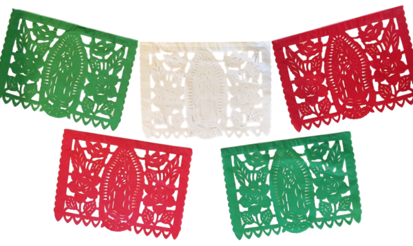 Guadalupe Papel Picado, TriColor, S/12   Guadalupe Papel Picado