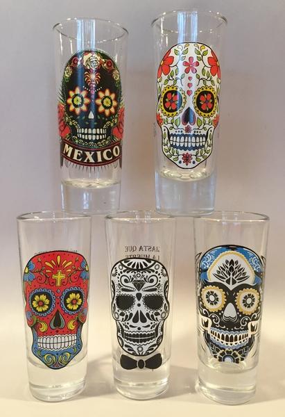Calavera Shot Glass, Set of Five   Mugs, Shot Glasses and Coasters