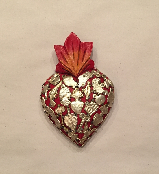 Sacred Heart with Milagros, Red, Small | Milagro Woodcarvings
