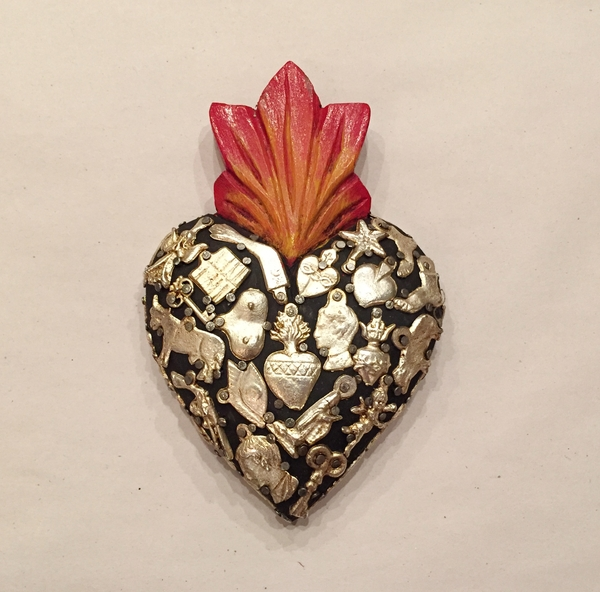 Sacred Heart with Milagros, Black, Small | Milagro Woodcarvings