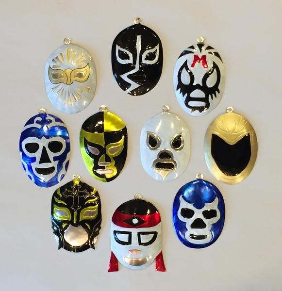 Assorted Tin Lucha Ornaments, S/10   Christmas Ornaments, Tin