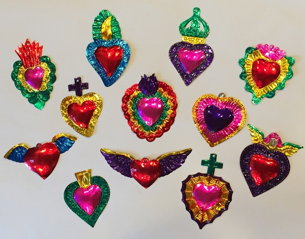 Tin Sacred Heart Ornaments, Colored, S/10   Tin Sacred Hearts