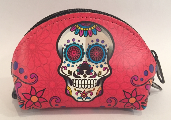 Leather Calavera Coin Purse, Red | Leather Coin Purses and Keychains