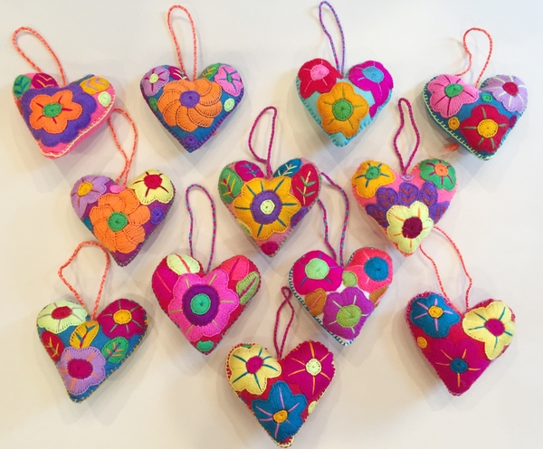 Embroidered Heart Ornament | Embroidered Hearts