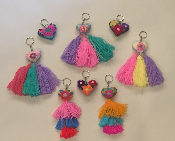 Miniature Embroidered Heart Keychain, S/6   Embroidered Hearts