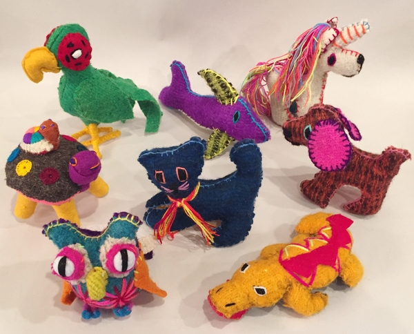 Hand Pieced Wool Animals, S/3 | Christmas Ornaments, Embroidered