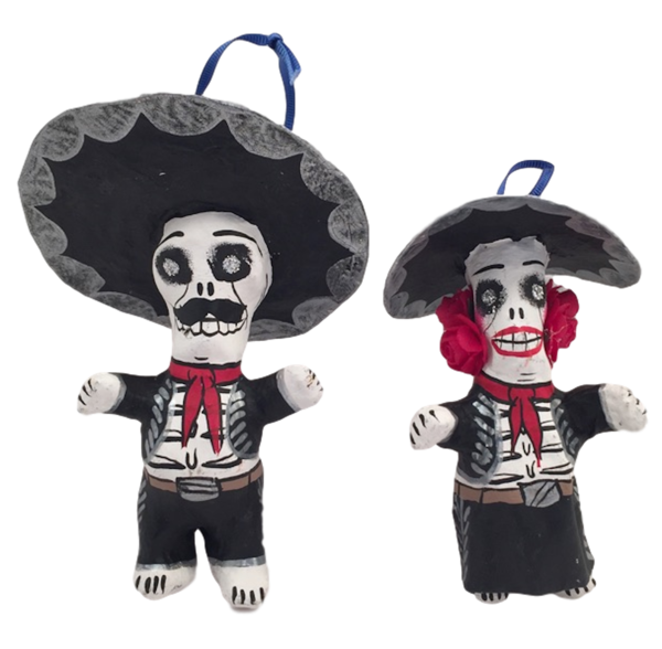 Mariachi Skeleton Ornaments, Small | Day of the Dead Ornaments, Paper Mache