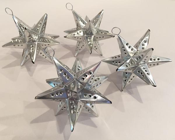 Miniature Moravian Tin Star Ornament, Set of 6   Christmas Ornaments, Tin