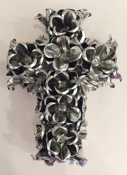 Tin Cross with Roses, Natural | Mexican Crosses, Assorted