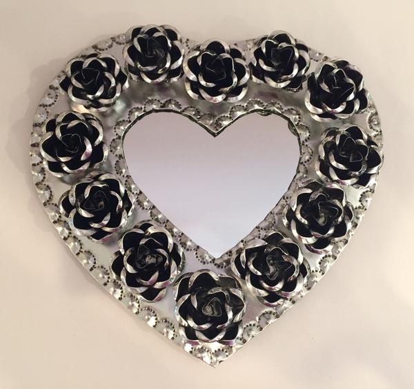 Tin Heart with Roses, Natural   Tin Sacred Hearts
