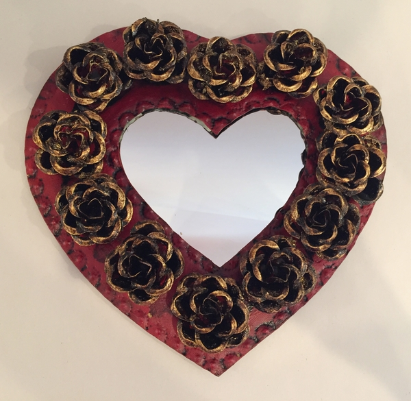 Tin Heart with Roses, Red Undertones | Tin Sacred Hearts