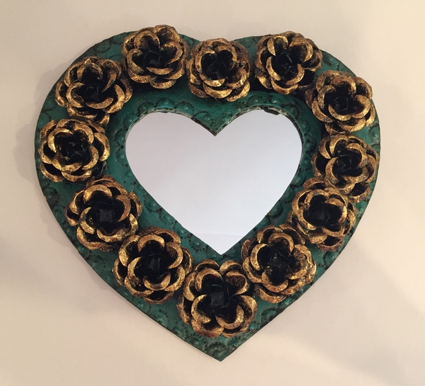 Tin Heart with Roses, Turquoise Undertones | Tin Sacred Hearts