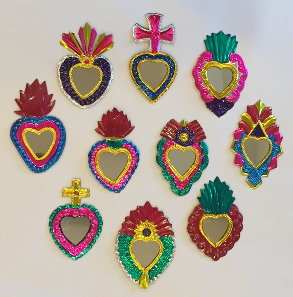 Tin Sacred Hearts with Mirror Ornaments, Colored, S/10 | Christmas Ornaments, Tin