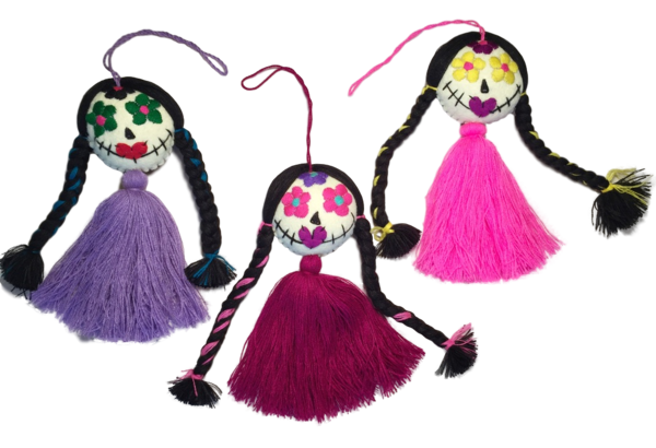 Embroidered Catrina Ornament, Single Pompom | Day of the Dead Ornaments, Embroidered