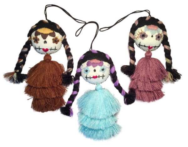 Embroidered Catrina Ornament, Cascading Pompom | Christmas Ornaments, Embroidered