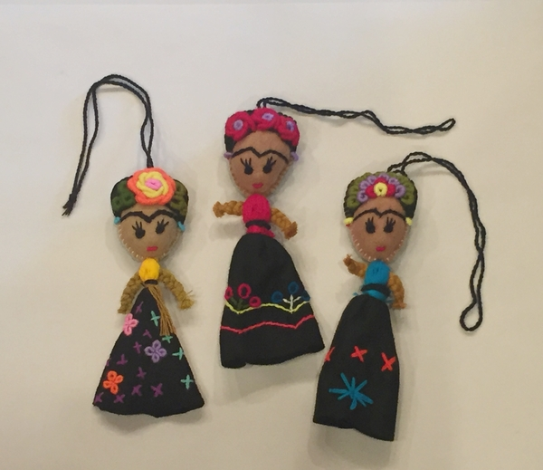 Frida Ornament with Skirt | Christmas Ornaments, Embroidered