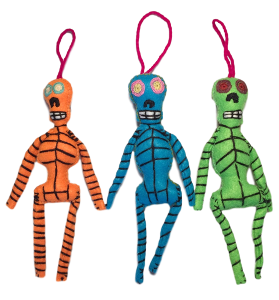 Hand Embroidered Colorful Skeleton | Christmas Ornaments, Embroidered