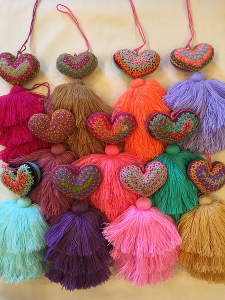 Heart Ornaments with Miniature Flowers | Christmas Ornaments, Embroidered