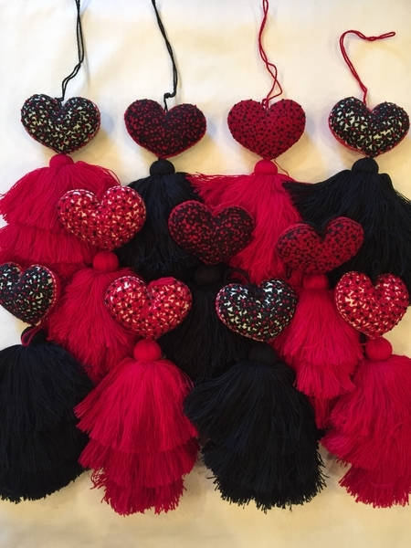 Heart Ornament with Miniature Flowers in Black, Red and White | Christmas Ornaments, Embroidered