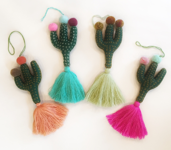 Saguaro Cactus Ornament with Ponpoms | Christmas Ornaments, Embroidered