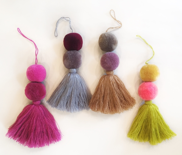 Double Ponpon with Tassel | Christmas Ornaments, Embroidered