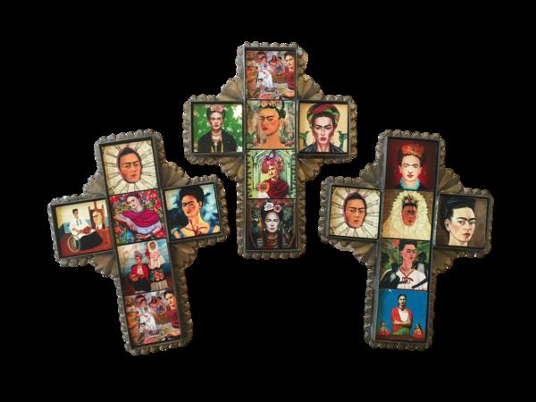 Frida Cross with Tiles, Tin, Small | Frida Nichos & Tin Designs