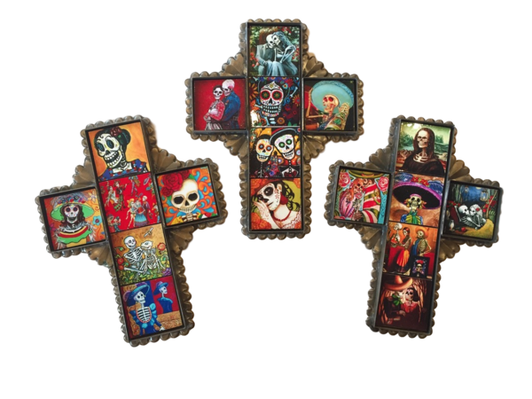 Tin Cross with Day of the Dead Tiles, Small | Mexican Crosses, Assorted