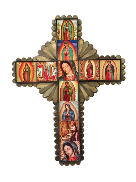 Tin Cross with Guadalupe Tiles, Large   Mexican Crosses, Assorted