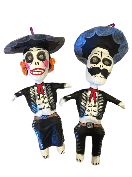 Day of the Dead Mariachi Ornaments, Large | Day of the Dead Ornaments, Paper Mache