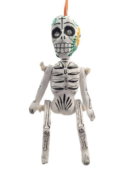 Day of the Dead Skeleton, B/W | Day of the Dead Ornaments, Paper Mache