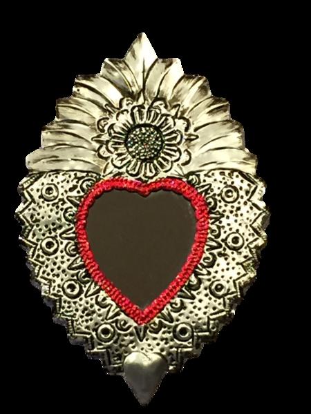 Tin Sacred Heart with Mirror, Large, (A)   Tin Sacred Hearts
