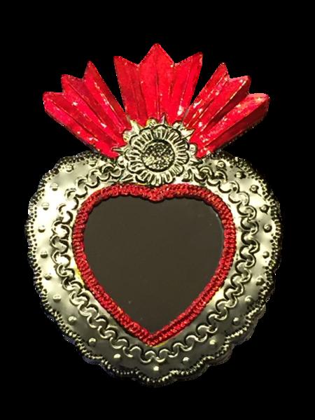 Tin Sacred Heart with Mirror, Large, (D) | Tin Sacred Hearts