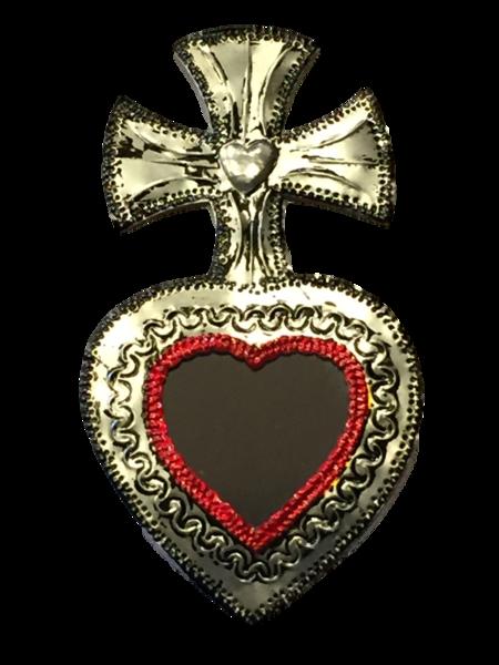 Tin Sacred Heart with Mirror, Large, (E) | Tin Sacred Hearts