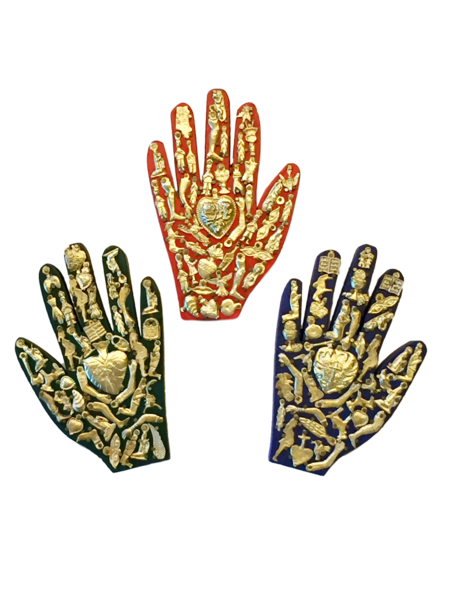 Healing Hand with Milagros   Milagro Woodcarvings