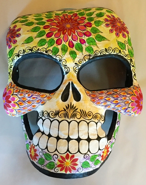 Giant Paper Mache Mask, Black and White | Day of the Dead Ornaments, Paper Mache