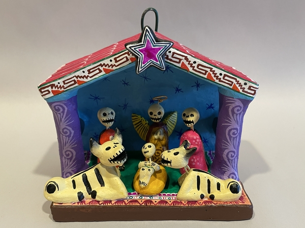 Day of the Dead Nativity in Creche, Small | Day of the Dead Clay Work
