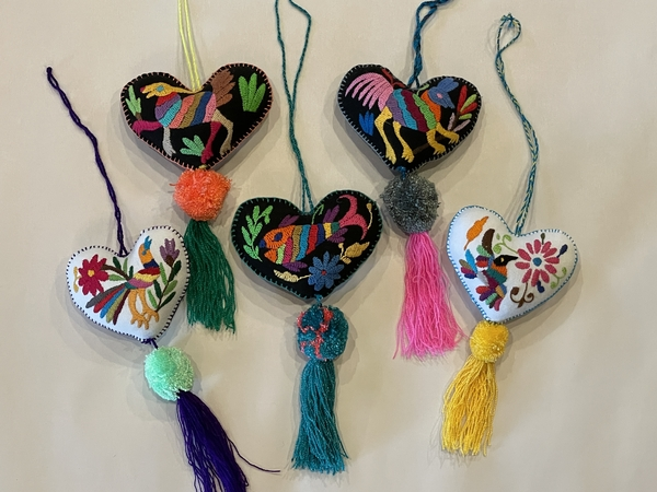 Otomi Heart Ornament with Pompom and Tassel | Christmas Ornaments, Embroidered