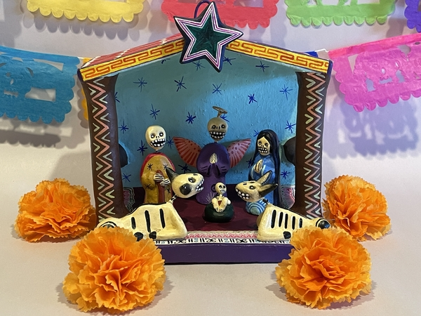 Day of the Dead Nativity in Creche, Large   Day of the Dead Clay Work