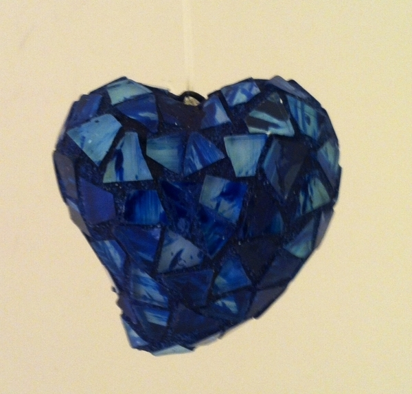 Blue Mosaic Heart Ornament | Mosaic Hearts