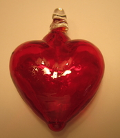 Image Mexican Blown Glass Heart, Red
