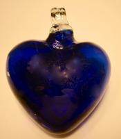 Image Mexican Blown Glass Heart, Cobalt
