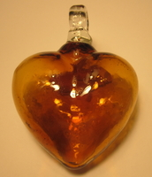 Image Mexican Blown Glass Heart, Amber
