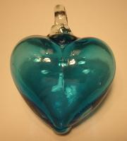 Image Mexican Blown Glass Heart, Aquamarine