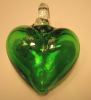 Image Mexican Blown Glass Heart, Jade Green