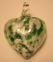 Image Speckled Green Blown Glass Heart